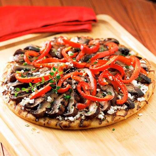 Portobello, Red Pepper & Goat Cheese Pizza