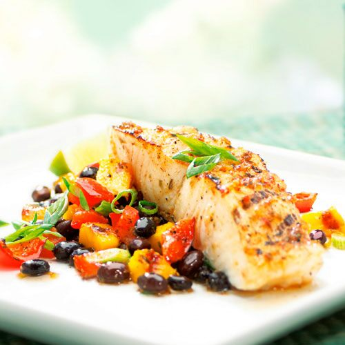 Jamaican Sea Bass with Mango & Black Bean Salad