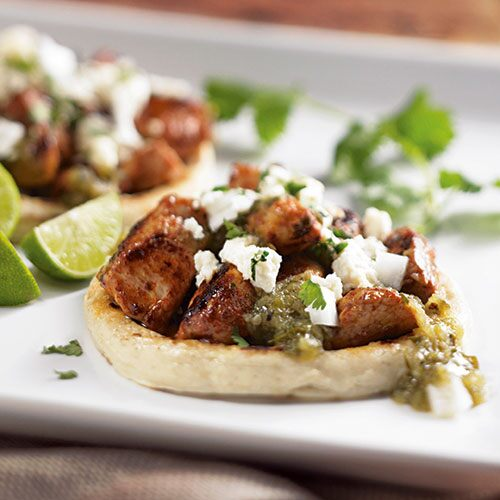 Pork Sopes with Roasted Tomatillo Sauce