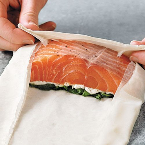 Salmon & Spinach in Phyllo