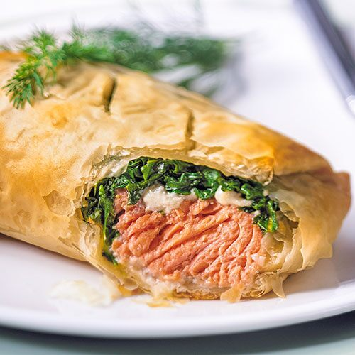 salmon amp spinach in phyllo   recipes pampered chef us site