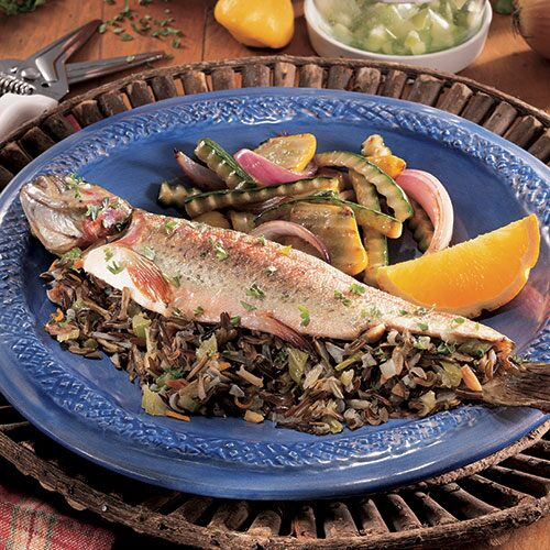 Grilled Wild Rice-Stuffed Trout