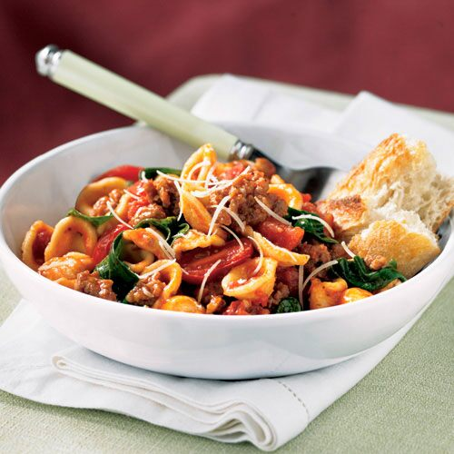Orecchiette with Spinach, Sausage & Tomatoes