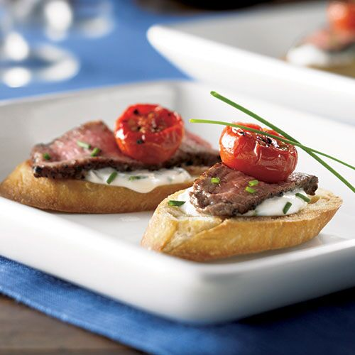 Steak Crostini with Chive-Cream Sauce