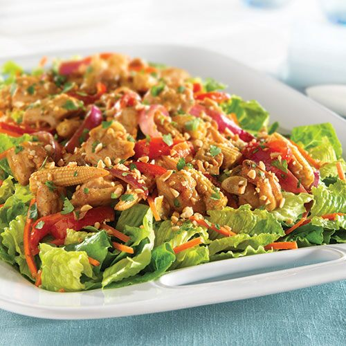... peanut chicken stir fry salad served over crisp lettuce this stir fry