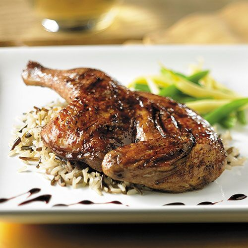 Pomegranate-Glazed Cornish Hen