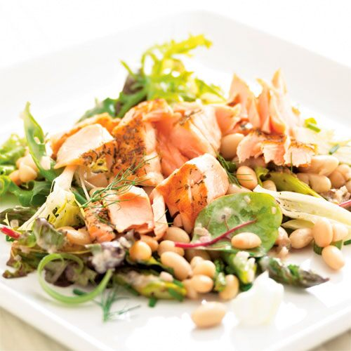 Fresh Herb Salad with Grilled Salmon