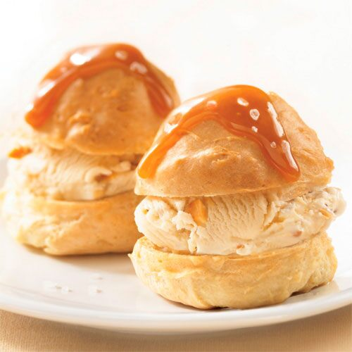 Cream Puffs with Caramel Swirl Ice Cream