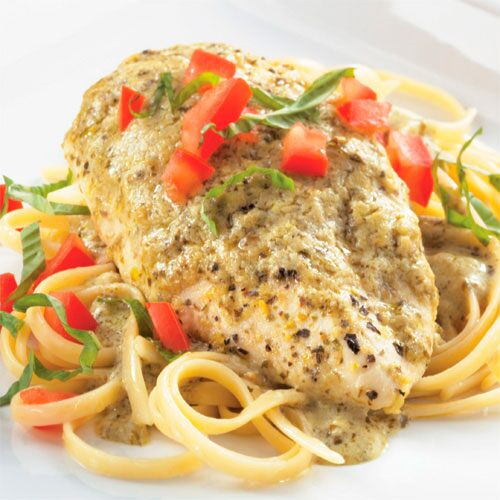 Creamy Lemon-Pesto Chicken & Linguine