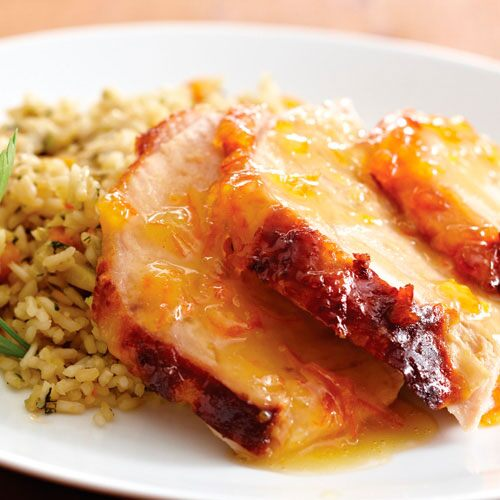 Apricot-Dijon Glazed Turkey With Herbed Pilaf