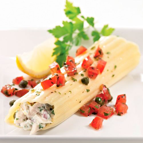 Tuna Cannelloni with Tomato-Caper Relish