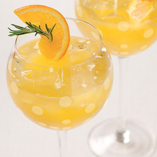 Rosemary citrus champagne cocktails recipes pampered for Champagne drinks with fruit