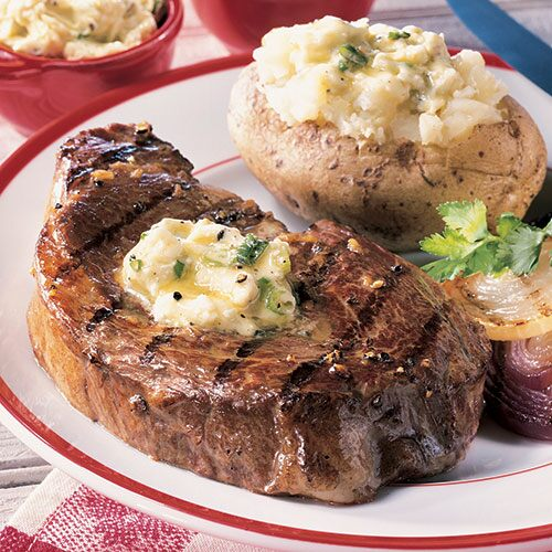 Grilled Steaks With Savory Butters