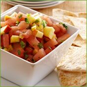 Watermelon & Peach Salsa with Cayenne Chips
