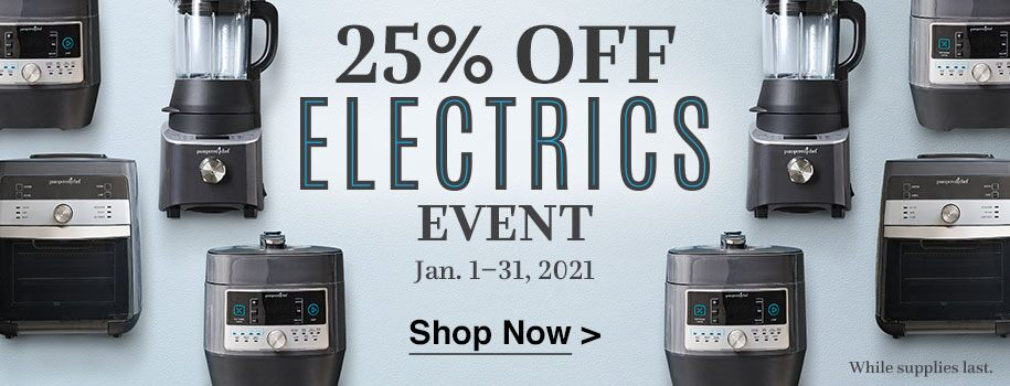 Save 25 percent on select electrics from January 1 through 31